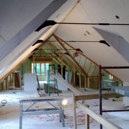 Interior drywall construction
